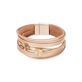 Náramok Fashion Style Eco Leather Cream Double Gold Plains Gold