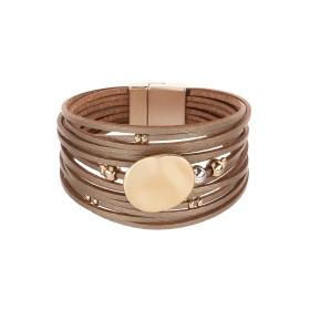 Náramok Fashion Style Eco Leather Light Brown Matt Gold Plain Gold