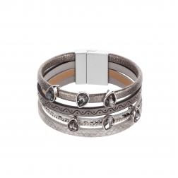 Náramok Fashion Style Eco Leather Grey Crystal Silver