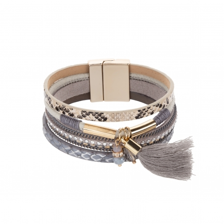 Náramok Fashion Style Eco Leather Grey - Cream Stripe Gold