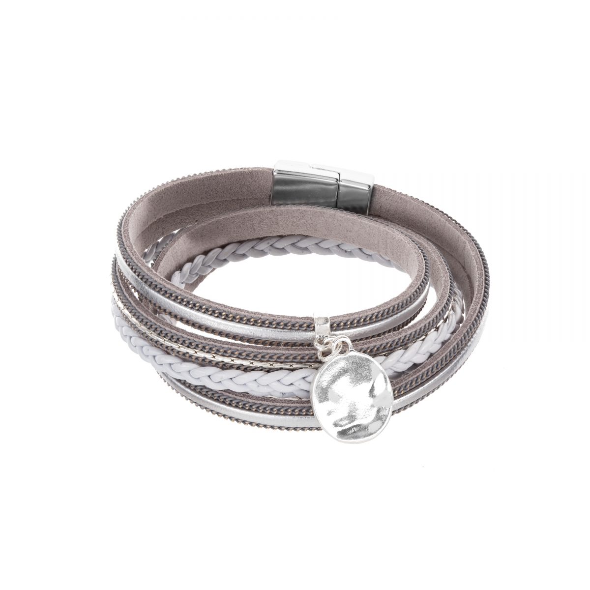 Náramok Fashion Style Eco Leather Grey - Silver Metalic Plain Silver