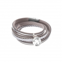 Náramok Fashion Style Eco Leather Grey - Silver Metalic Plain Silver