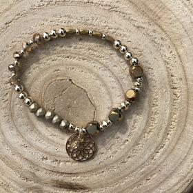 Krištáľový náramok bronzový - prívesok kvet