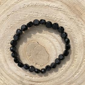 Krištáľový náramok čierny lesklý 1