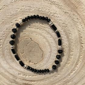 Krištáľový náramok čierny lesklý 2