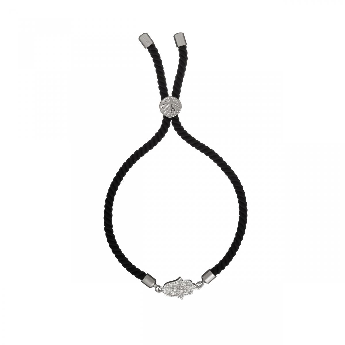 Náramok Macrame Black Hamsa Zircon Crystals Stainless Steel