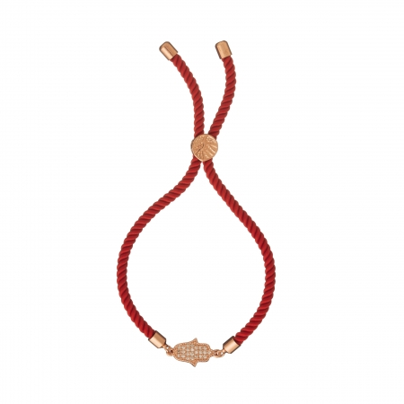 Náramok Macrame Red Hamsa Zircon Crystals Stainless Steel