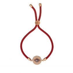 Náramok Macrame Red Blue Evil Eye Zircon Crystals Stainless Steel