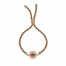 Náramok Macrame Cream Blue Evil Eye Zircon Crystals Stainless Steel