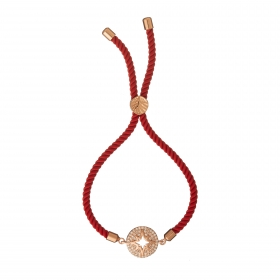 Náramok Macrame Red Star Zircon Crystals Stainless Steel