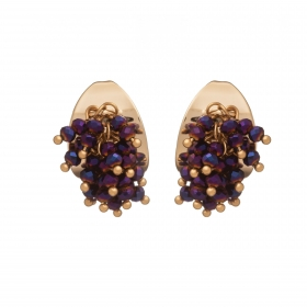 Náušnice Theodora Gold Plated Purple Crystals