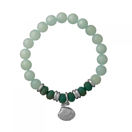 Náramok Mineral Aqua Jadeit Silver Shell