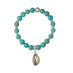 Náramok Mineral Turquoise White Shell Silver