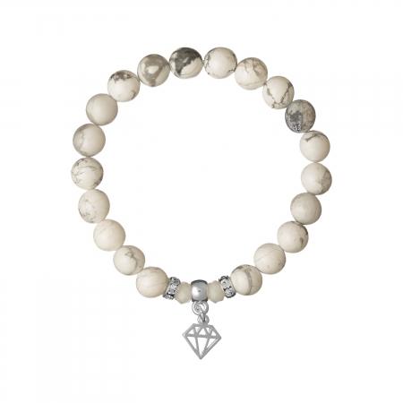 Náramok Mineral White Howlit Silver Diamond