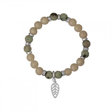 Náramok Mineral Grey Achát Silver Leaf