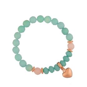 Náramok Mineral Aqua Jadeit Rose Gold Heart