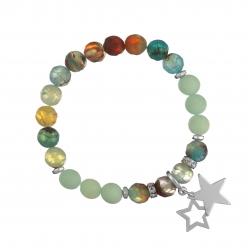 Náramok Mineral Aqua Achát Silver Stars