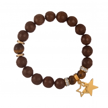 Náramok Mineral Facet Brown Jadeit Gold Stars