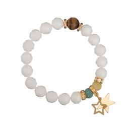 Náramok Mineral Matt White Jade Gold Stars