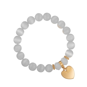 Náramok Mineral White Cat Eye Gold Heart
