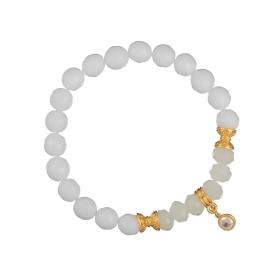 Náramok Mineral Facet White Jadeit Gold Crystal