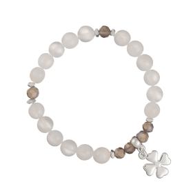 Náramok Mineral White Jadeit Silver Floweleaf