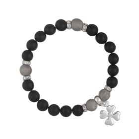 Náramok Mineral Matt Black Onyx Silver Flowerleaf