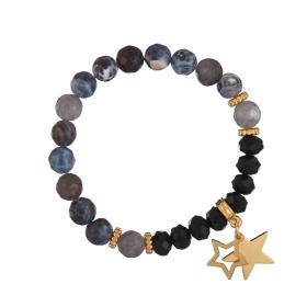 Náramok Mineral Facet Black Achát Gold Stars
