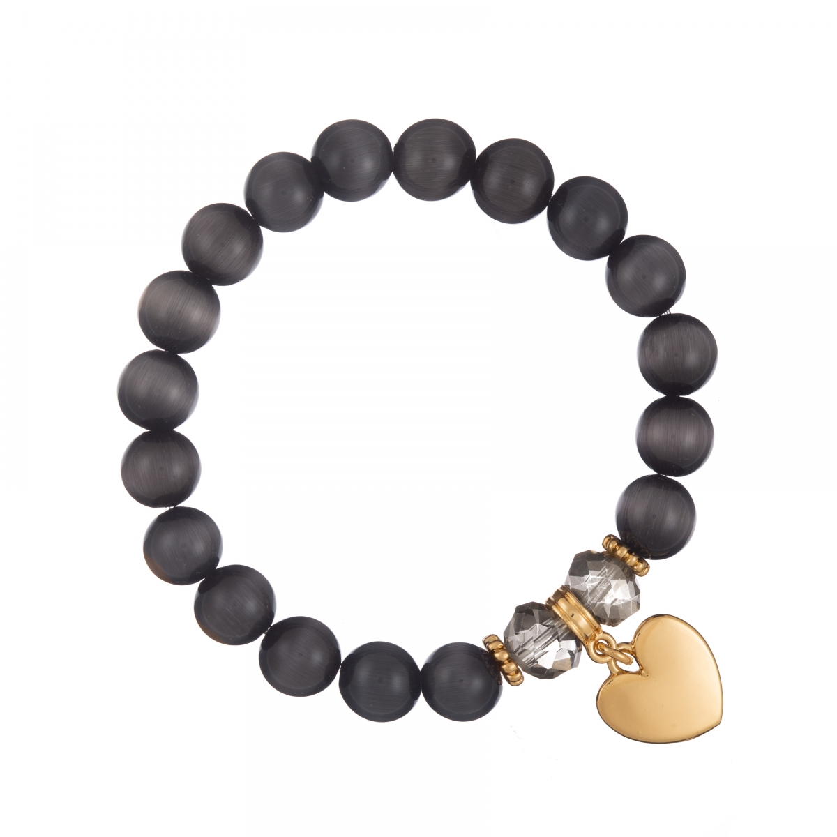 Náramok Mineral Black Cat Eye Gold Heart