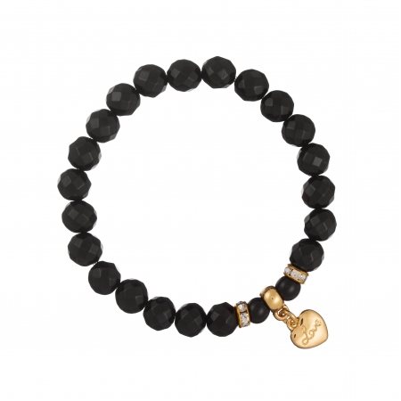 Náramok Mineral Facet Black Onyx Gold Heart