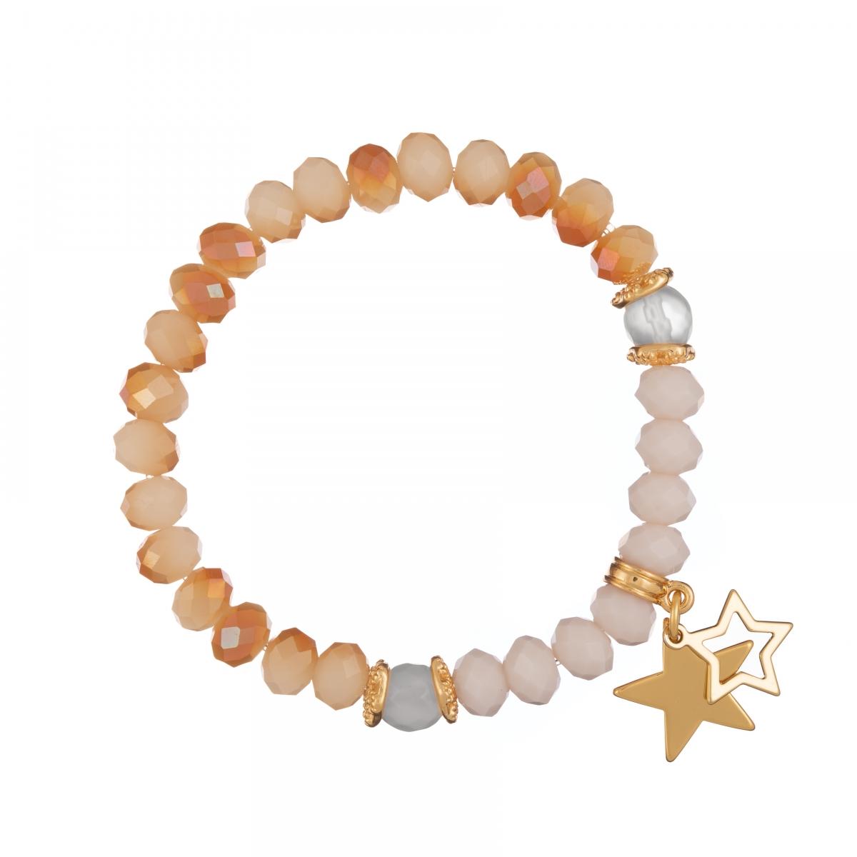 Náramok Mineral Gold Peach Jadeit Gold Stars