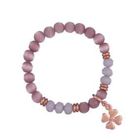 Náramok Mineral Light Purple Cat Eye Rose Gold Flowerleaf