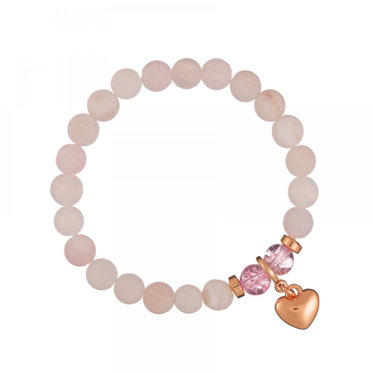 Náramok Mineral Matt Pink Achát Rose Gold Heart