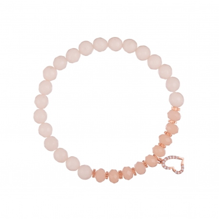 Náramok Mineral Peach Jadeit Rose Gold Heart