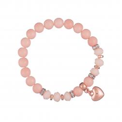 Náramok Mineral Pink Jadeit Rose Gold Heart