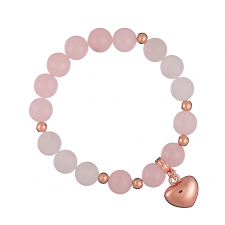 Náramok Mineral Rose Quartz Rose Gold Heart