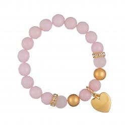 Náramok Mineral Facet Pink Jadeit Gold Heart