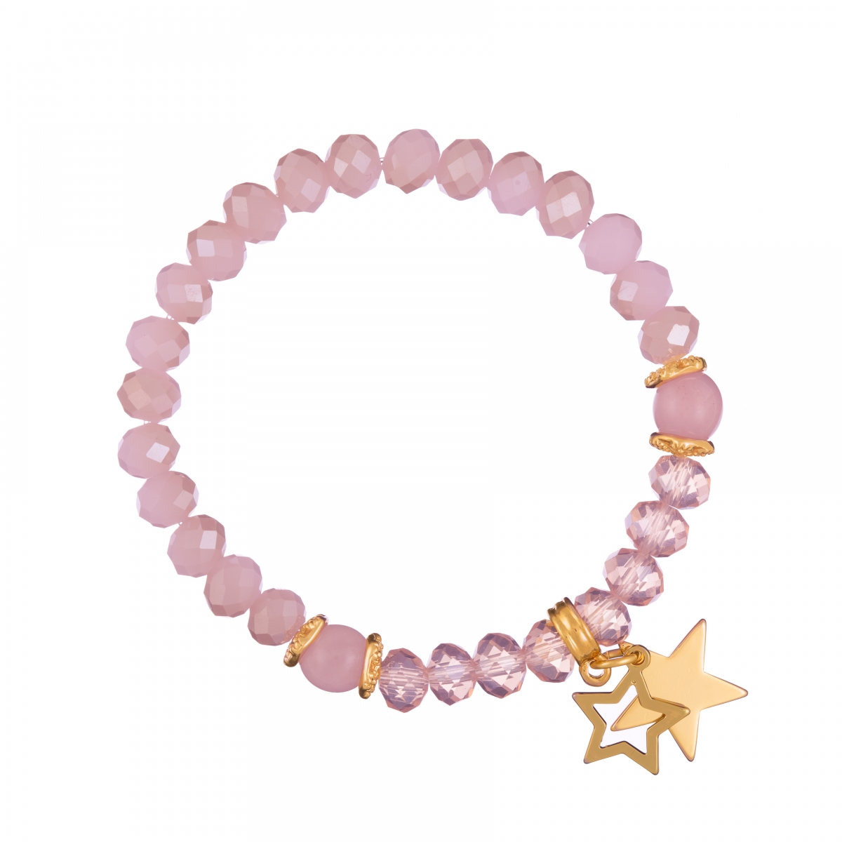 Náramok Mineral Solid Pink Jadeit Gold Stars