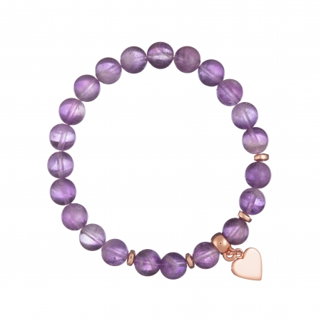 Náramok Mineral Purple Amethist Rose Gold Heart