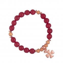 Náramok Mineral Red Jadeit Rose Gold Flowerleaf