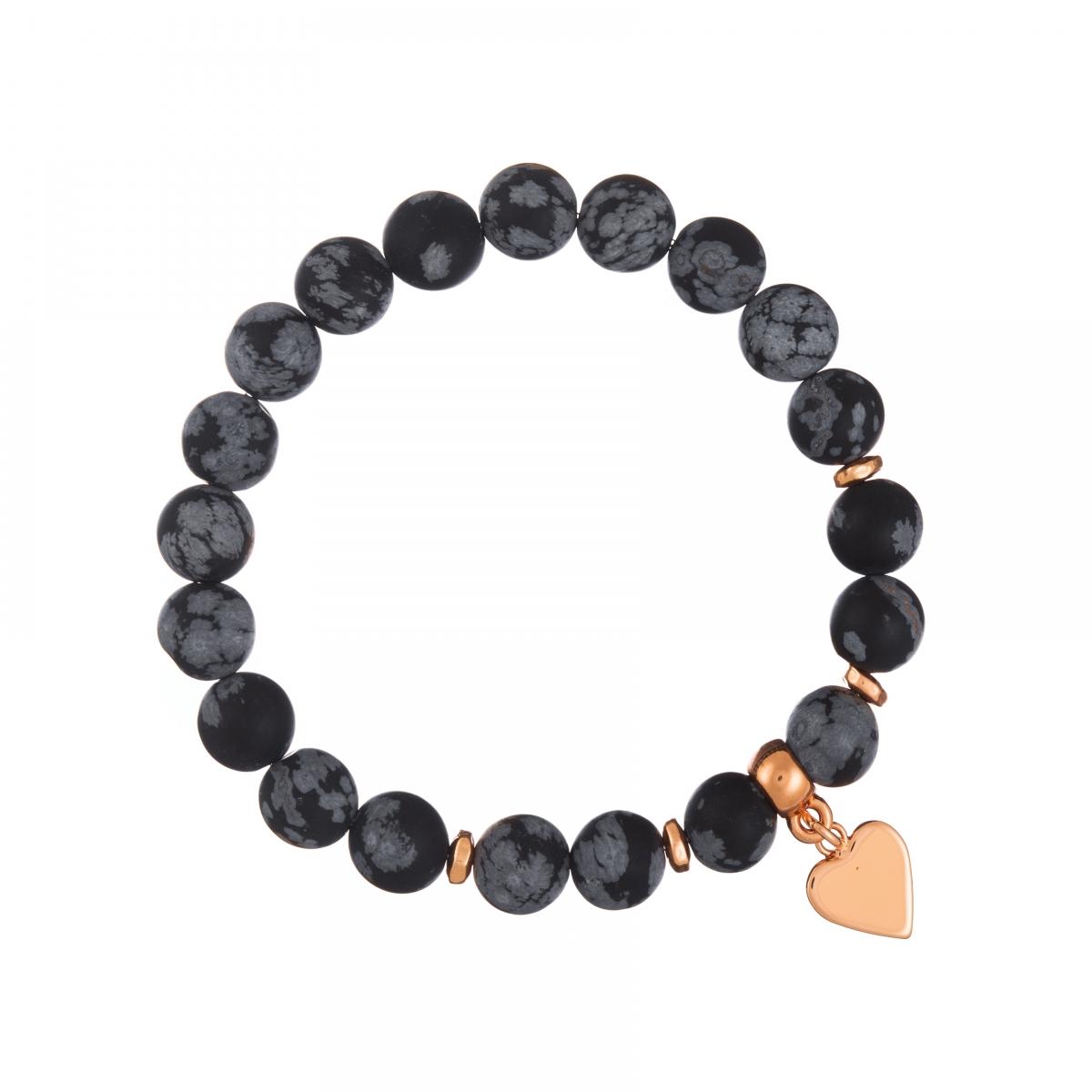 Náramok Mineral Matt Snowflake Obsidian Rose Gold Heart