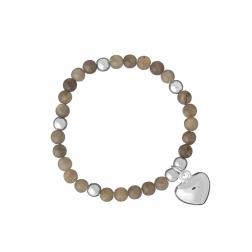 Náramok Mineral Grey Heart Silver
