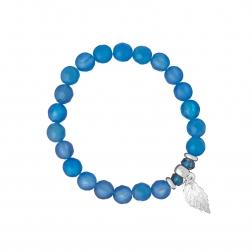 Náramok Mineral Blue Facet Silver Leaf