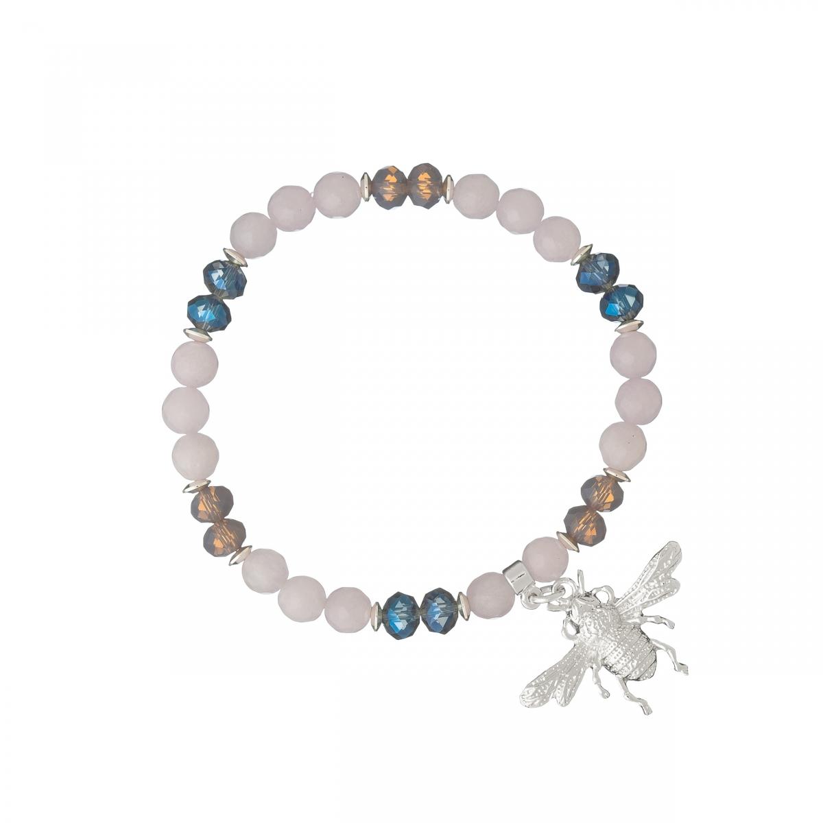 Náramok Mineral Jadeit Violet Silver Fly