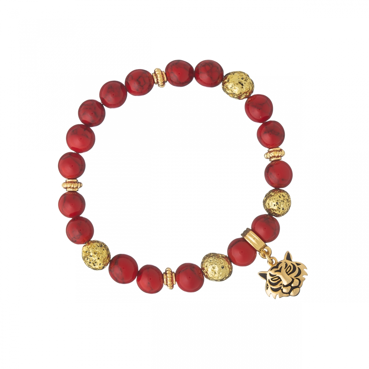 Náramok Mineral Red Coral Gold Tiger