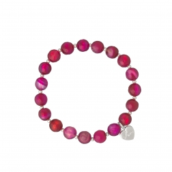 Náramok Mineral Fuchsia Achat Silver Heart