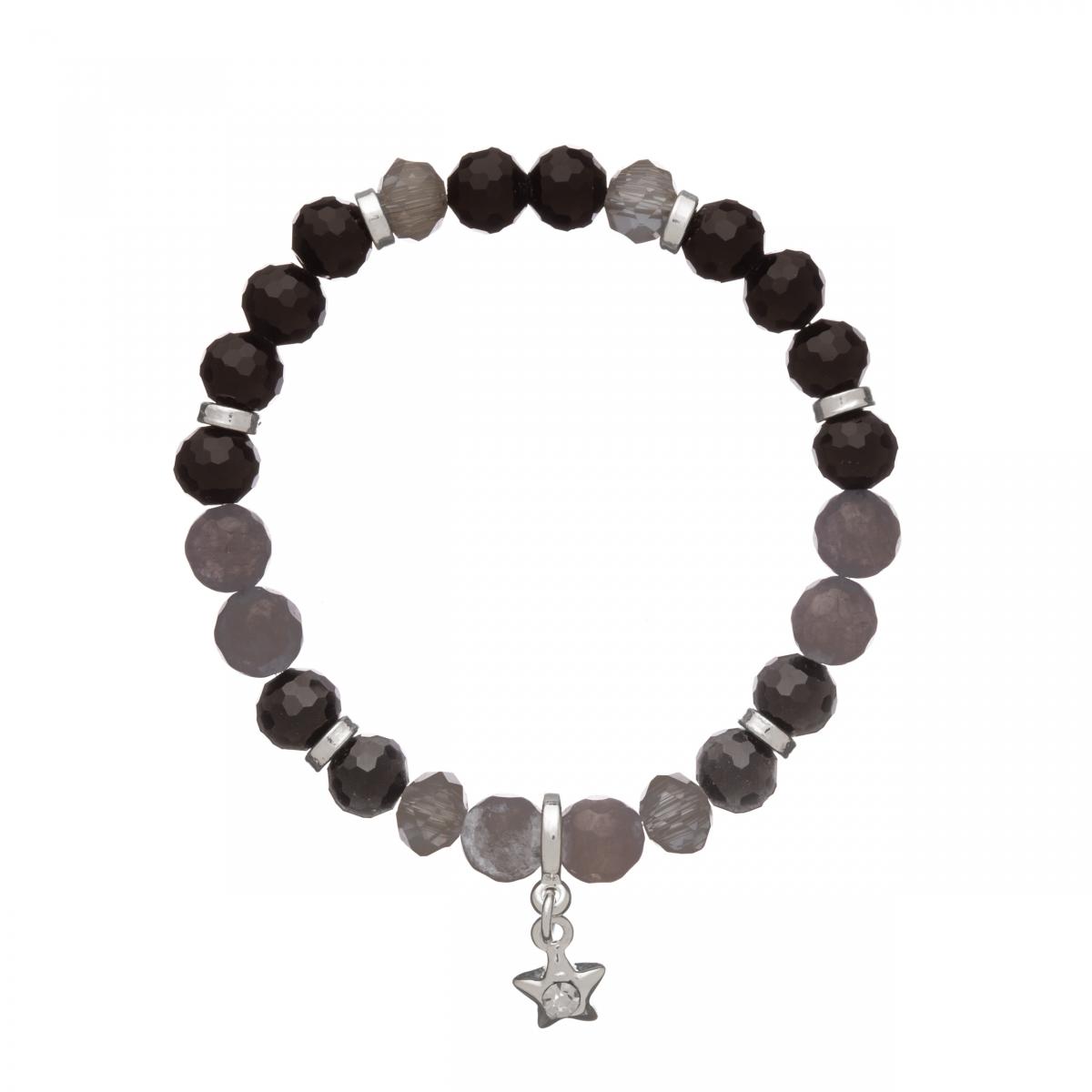 Náramok Mineral Facet Black Onyx &  Grey Jadeit Silver Star
