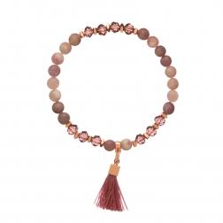 Náramok Mineral Purple Amethyst Textil Stripe Rose Gold