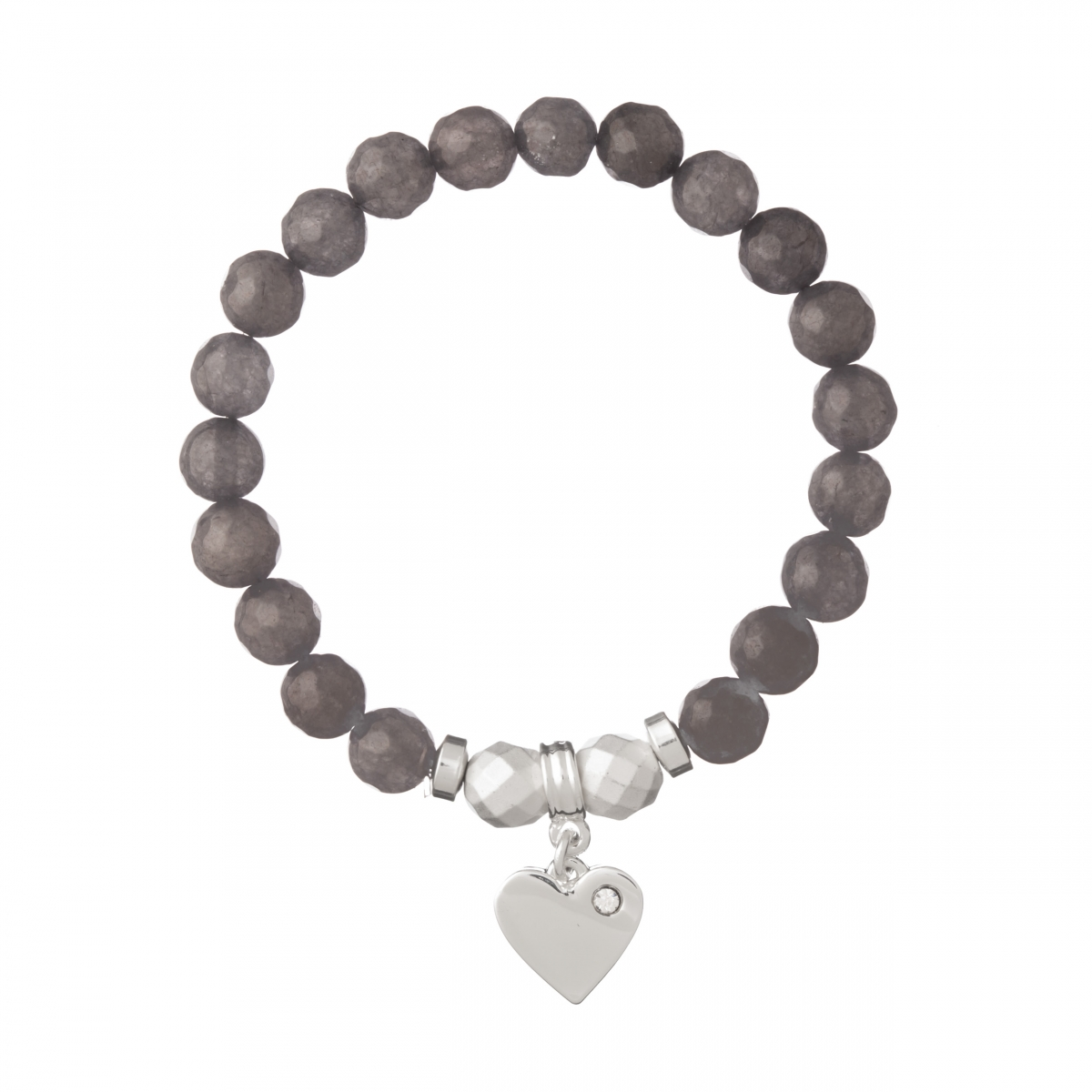 Náramok Mineral Facet Grey Jadeit Silver Heart