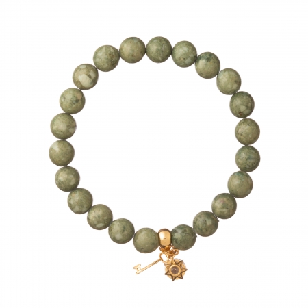 Náramok Mineral Green Jadeit Gold Key & Zircon Crystal